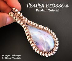 """TUTORIAL """"Heaven Blossom"""" PDF pattern book,wire wrap weave jewelry,copper,cabochon,wrapping weaving,wrapped weaved,large,big pendant design"""