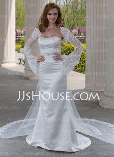 Wedding Dresses - $186.99 - Mermaid Sweetheart Watteau Train Satin Tulle Wedding Dress With Lace Beadwork (002004482) http://jjshouse.com/Mermaid-Sweetheart-Watteau-Train-Satin-Tulle-Wedding-Dress-With-Lace-Beadwork-002004482-g4482