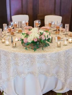 this lace table overlay is PERFECTION // blush DIY wedding | Rachel Solomon Photography | Glamour & Grace