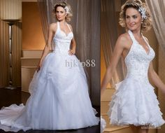 Discount Wonderful Glamorous Detachable Two Pieces Style Halter Applique Beaded Handmade Flowers Ruched White A-Line Wedding Dresses Bridal Dress Online with $189.0/Piece | DHgate
