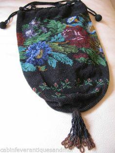 Antique Victorian Black Brown Floral Garden Crochet Micro Bead Drawstring Purse | eBay