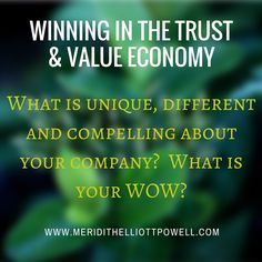 Your company can't possibly be all things to all potential buyers - and that's where you start to build your brand. When you are trying to sculpt your WOW ask your valued and clients: Why do you do business with us? Why are you willing to pay more for our product or service? What keeps you coming  back? ~ Meridith Elliott Powell, author of Winning In The Trust &  Value Economy