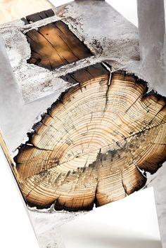 Designer Hilla Shamia Fuses Cast Aluminum and Tree Trunks to Create One-of-a-Kind Furniture Pieces
