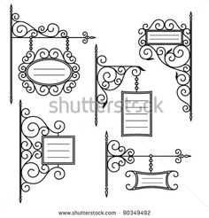 vintage signboards set - stock vector