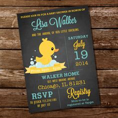 Chalkboard Rubber Duck Baby Shower Invitation - Instant Download + Editable File - Personalize with Adobe Reader on Etsy, $5.00
