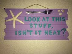 I made this wooden sign for Sophia's 3rd birthday party. Her theme was Little Mermaid. I painted the wooden board, as well as the letters and hot glued the starfish and three shells on which were all purchased from @michaelsstores I just used a fork that I had in my kitchen and I hand painted the apostrophe, comma and question mark to finish off the sign.