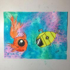 Finished product #art #artwork #artsy #artcollective #theartlovers #talentedpeopleinc #arts_help #art_spotlight #artfido #watercolor #paint #sharpie #sharpieart #sharpiedrawing #drawing #drawings #fish #water #goldfish #ocean #submarine #bubbles #yellowsubmarine #orange #blue #green #purple #yellow #doddle by marissa_e_baker