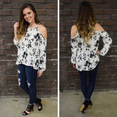 This grayscale, floral cold shoulder is so pretty! - $44 #springfashion #spring  #fashionista #shoplocal #aldm #apricotlaneboutique #apricotlanedesmoines #shopaldm #desmoines #valleywestmall #fashion #apricotlane #newarrival  #shopalb  #ootd #westdesmoines  #shopapricotlaneboutiquedesmoines #ontrend