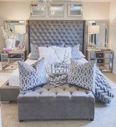 Guest Room Decor, Room Ideas Bedroom, Bedroom Decor, Glam Master Bedroom, Home Bedroom, Mirrored Bedroom Furniture, Grey Home Decor, Aesthetic Bedroom, Luxurious Bedrooms