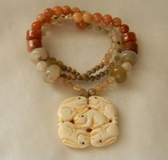 bone ivory buffalo isabel multi marant strand lyst in necklace bead metallic normal jewelry white product