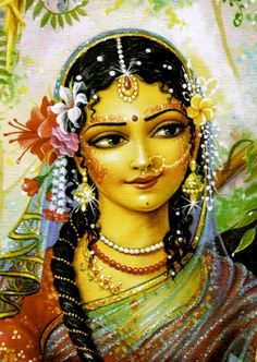 "Radharani gives a garland to Subala for Krishna One day Srimati Radharani made a very nice flower garland for Krishna and gave it to Vrinda-devi, ""You take and give this to Krishna.""   Vrinda-devi thought, ""Subal-sakha is a priya-narma-sakha."