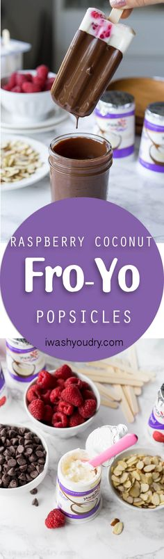 Raspberry Coconut Fro-Yo Popsicles