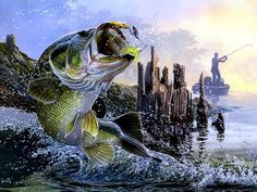 Bass Fishing Lake Sunset Modern Canvas Painting Large Fish Animal Wall Art Prints Poster Home Decor For Liivng Room