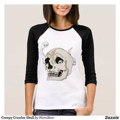 Creepy Crawler Skull Tshirt by NamiBear on Zazzle.com. This is an illustration of a skull with some worms and tiny ghosts residing inside it.