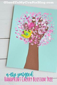 Classroom Kids Crafts Handprint Cherry Blossom Tree Blogger Used Q Tips But I