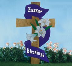 Large Easter Cross Woodcraft Pattern Pass on the spirit of Easter when you display this easter greeting in your yard. #diy #woodcraftpatterns