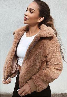 Women Casual Faux Fur Lapel Zipper Up Brown Teddy Coat - Office Fashion Women, Work Fashion, Fashion Coat, Jackets Fashion, Brown Fashion, Female Fashion, Winter Fashion, Faux Jacket, Mode Mantel
