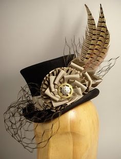 Steam punk feathered top hat