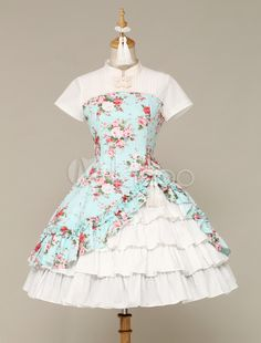 Ethnic Sleeveless Cascading Ruffled Lolita Dress For Women - Milanoo.com