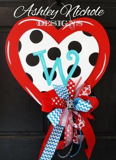 Polka Dot Heart Red Valentine Heart Door by DesignsAshleyNichole Valentine Wreath, Valentine Decorations, Valentine Heart, Valentine Crafts, Valentine Ideas, Wooden Door Hangers, Wooden Doors, Wood Crafts, Diy Crafts