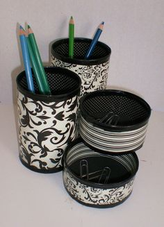 Recycled Can Desk Organizer / Pencil Holder. $22.00, via Etsy.