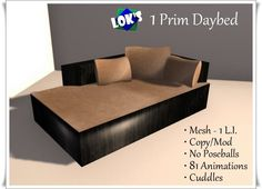 *Lok's* 1 Prim Daybed with Cuddles - Mesh Furniture