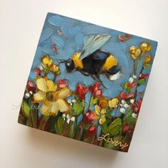 alaveryartNew bees in shop! oil on cradled panel. Update all SOLD! Small Canvas Paintings, Small Canvas Art, Mini Canvas Art, Small Paintings, Bee Painting, Painting & Drawing, Afrique Art, Bee Art, Guache