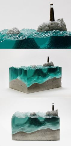 Sheets of Glass Cut into Layered Ocean Waves by Ben Young Resin Crafts, Resin Art, Art Crafts, Cut Glass, Glass Art, Memes Arte, Toy Art, 3d Prints, Oeuvre D'art