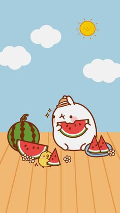 Ley-WorldKawaii: Wallpapers p Chibi Kawaii, Kawaii Doodles, Cute Doodles, Kawaii Art, Cute Kawaii Drawings, Cute Animal Drawings, Watermelon Wallpaper, Kawaii Background, Molang
