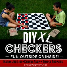 DIY XL Checkerboard & Checkers Game Set - Super-Sized Fun Outside or Inside! Mason Jar Lids + Canvas Tarp + Simple Supplies  #Save4Summer AD
