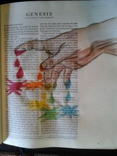 Beautiful interpretation of Genesis 1, the Creation, in a journaling Bible.