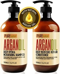 Moroccan Argan Oil Shampoo and Conditioner SLS Sulfate Free Organic Gift Set - Best for Damaged, Dry, Curly or Frizzy Hair - Thickening for Fine / Thin Hair, Safe for Color and Keratin Treated Hair - Health and Personal Care Product Search Thickening Shampoo For Men, Shampoo For Dry Scalp, Mens Shampoo, Good Shampoo And Conditioner, Sulfate Free Shampoo, Hair Shampoo, Organix Shampoo, Argan Oil Conditioner, Itchy Scalp