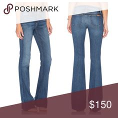 """Joes jeans Cayla mid rise wide leg - Zip fly with button closure - 5 pocket construction - Whiskered hips - Faded wash - Flare leg - Approx. 8.5"""" rise, 35"""" inseam - eco friendly denim. My favorite jeans. So incredibly comfortable and makes you look lean. NoTRADES. Joe's Jeans Jeans Flare & Wide Leg"""