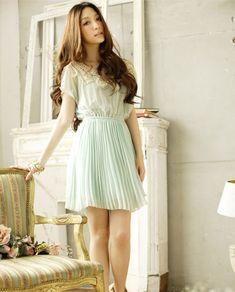 Pleated Chiffon Blue Dress