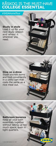 The IKEA Home Tour Squad demonstrates how the RÅSKOG utility cart can be used for organized storage in the kitchen, bathroom, office, and elsewhere in the home. Its sturdy steel construction, durable casters and small size allow you to move it where you need it.
