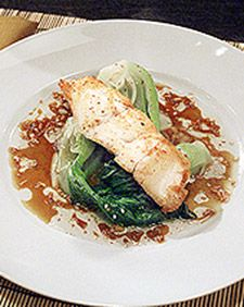 Chef Eric Ripert, of Le Bernardin in New York City, enjoys exploring foods from many parts of the world. Sauteed grouper prepared with baby bok choy, ginger, and soy and oyster sauces is an example of his interest in Asian foods and ingredients.