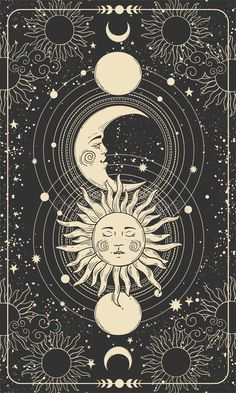 Mystical Drawing Of Sun With Face, Moon And Crescent Moon, Background For Tarot Card, Magic Boho Illustration. Golden Sun With Stock Vector - Illustration of gold, horoscope: 208609708