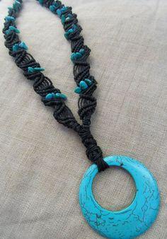 Macrame Turquoise Hemp Necklace Natural por PerpetualSunshine111