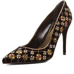 Alexander McQueen Embroidered Velvet Pointy Pumps in Black & Gold