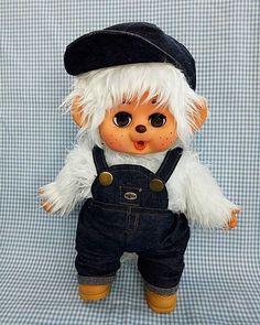 Vintage MONCHHICHI white Tak flashing Doll Eyes, Bunny, Teddy Bear, Japan, Dolls, Yellow, Animals, Vintage, Ebay