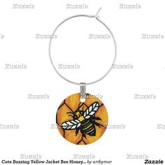 Cute Buzzing Yellow Jacket Bee Honeycomb Wine Charm