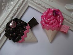 Ice Cream Cone Ribbon Sculpture Hair Clip. Ice cream Hair Clip.