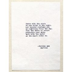 Dance with the Stars Universe Poem Hand Typed with Antique Typewriter (Frame Not Included) Please Note: I no longer offer the paper shown in the first photo, I offer four types of paper which I describe below. Sink In, Hand Type, Dancing With The Stars, First Photo, Poems, Ann, Universe, Inspirational Quotes, Social Media