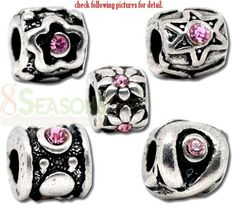 ced73df5f Wholesale Mixed Silver Tone Pink Rhinestone Stopper W/Rubber Beads. Fit  European Bracelet 10x7mm-11x10mm, Sold Per Pack Of 10 from China Supplier