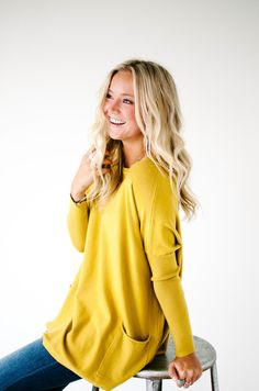 Fall Mustard Sweater with Pockets | ROOLEE