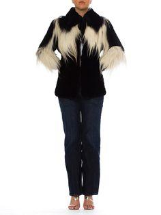 Vintage 1930s Black and White Fur Coat