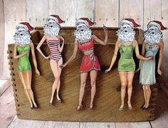 Christmas Kitsch  Santa Crossdresser Brooch Set  by MySelvagedLife, $15.00