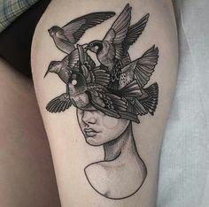 Tattoo bird woman graphic