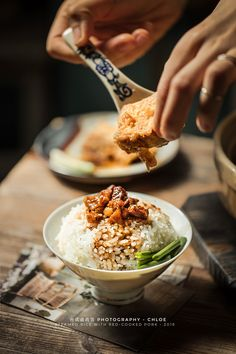 台式卤肉饭 steamed rice with red-cooked pork photography 卤豆腐 Bar Restaurant Design, Restaurant Recipes, Design Café, Food Design, Food Photography Styling, Food Styling, Architecture Restaurant, Food Drawing, Pork Dishes