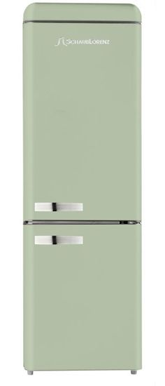 Complete your kitchen with this mint green refrigerator with built-in freezer!